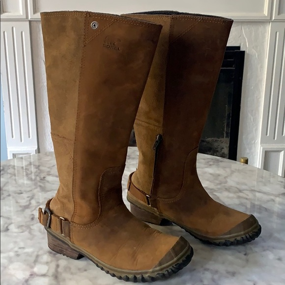 Women's Sorel tall leather riding heeled boot 6